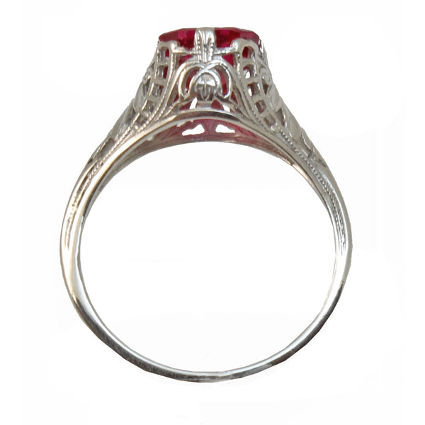 Vintage Syn. Ruby 10K White Gold Filigree Ring Full Side