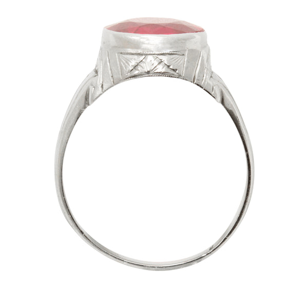 Art Deco Lab Ruby 10k White Gold Ring Side
