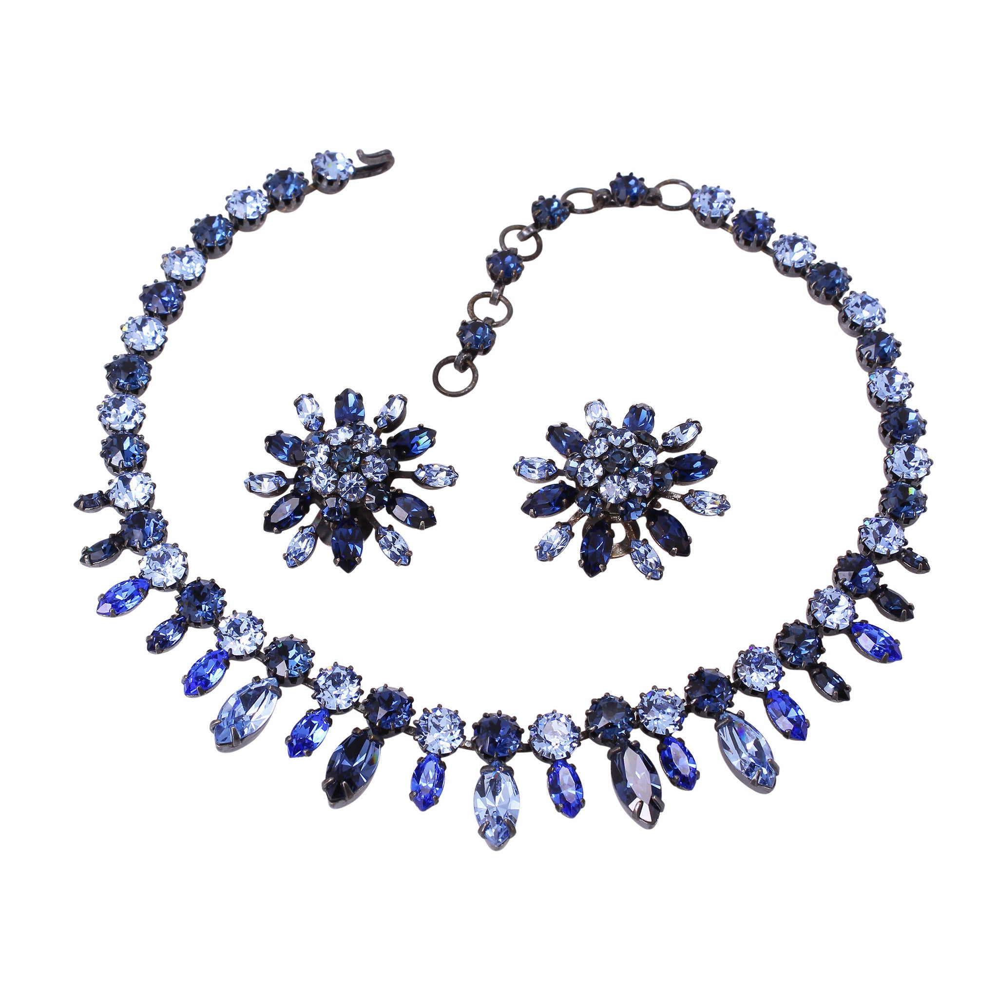 Schreiner Shades of Blue Rhinestone Necklace and Earrings Front