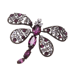 Schreiner Amethyst and Clear Rhinestone Dragonfly Pin