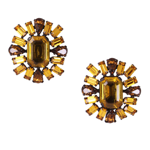 Stunning Topaz Rhinestone Schreiner Earrings Front