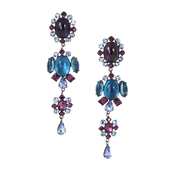 Spectacularly Massive Schreiner Colorful Rhinestone Chandelier Earrings Front