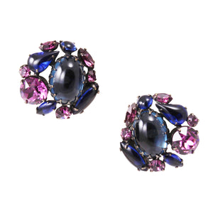 Schreiner Deep Sapphire Blue and Amethyst Rhinestone Earrings Front