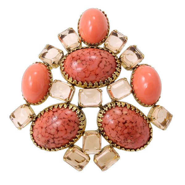 Schreiner Coral Glass Cabochon and Rhinestone Pendant/Pin