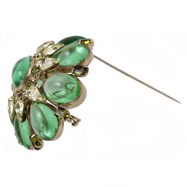 Schreiner Peridot Glass Cabochon and Citrine Rhinestone Pin Side