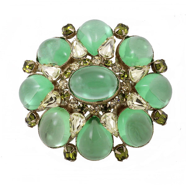 Schreiner Peridot Glass Cabochon and Citrine Rhinestone Pin Front