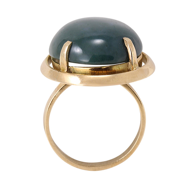 Vintage 14k Yellow Gold Serpantine Stone Ring Full Side