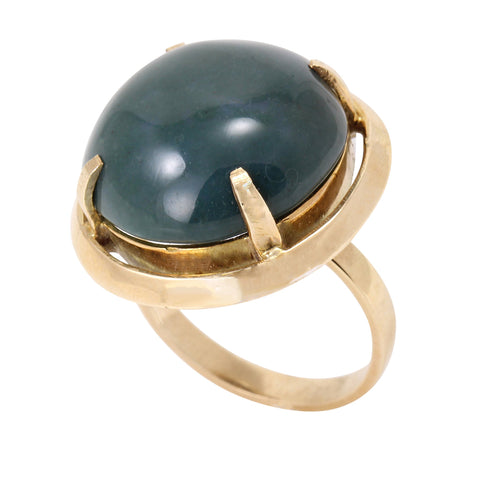 Vintage 14k Yellow Gold Serpantine Stone Ring
