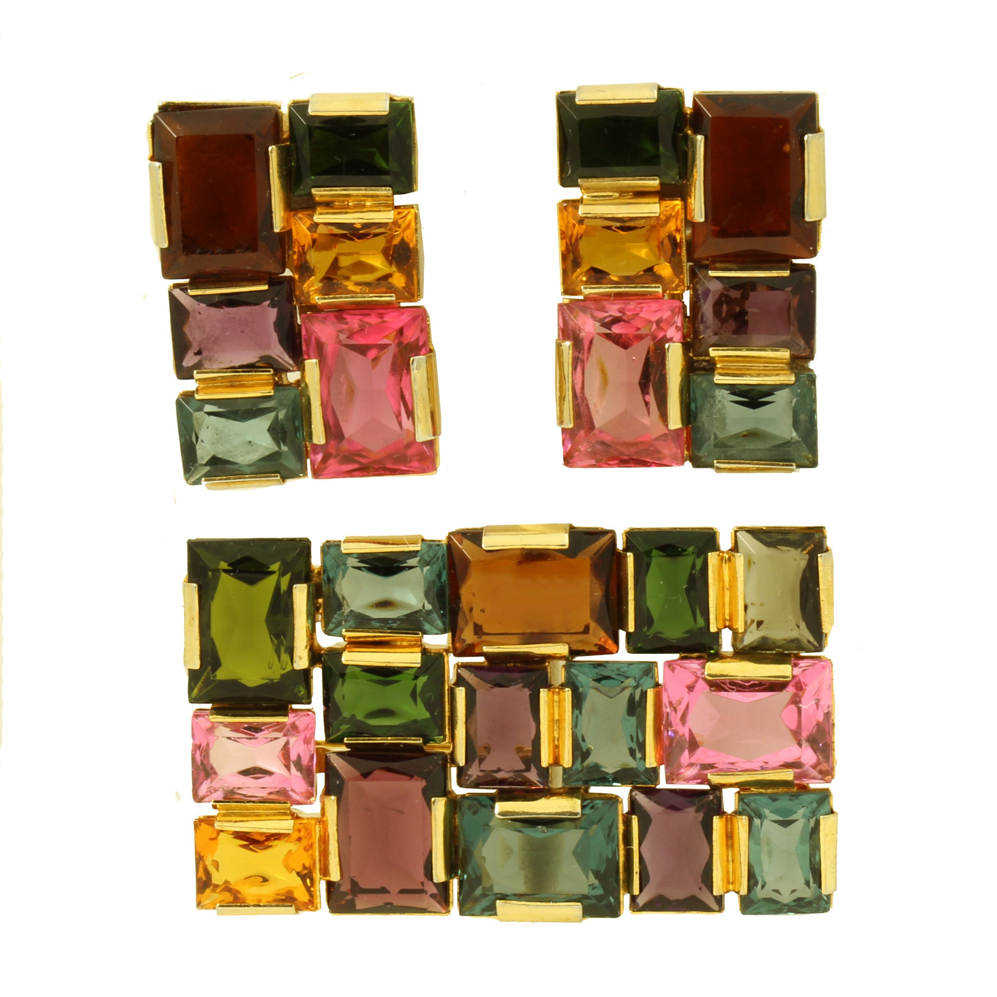 Colorful Glass Stone Geometric Pin and Earrings Front
