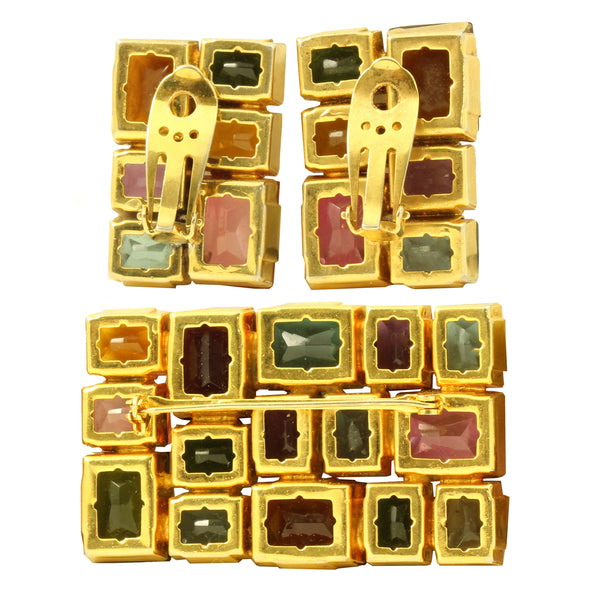 Colorful Glass Stone Geometric Pin and Earrings Back