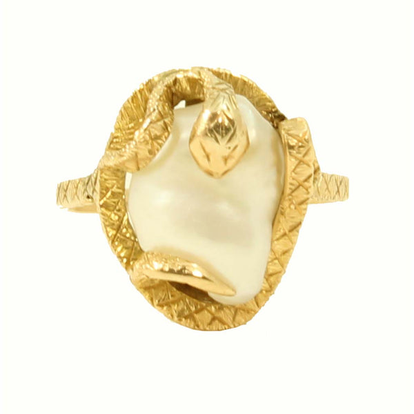 Snake/Serpent 14k Yellow Gold and Pearl Ring Full