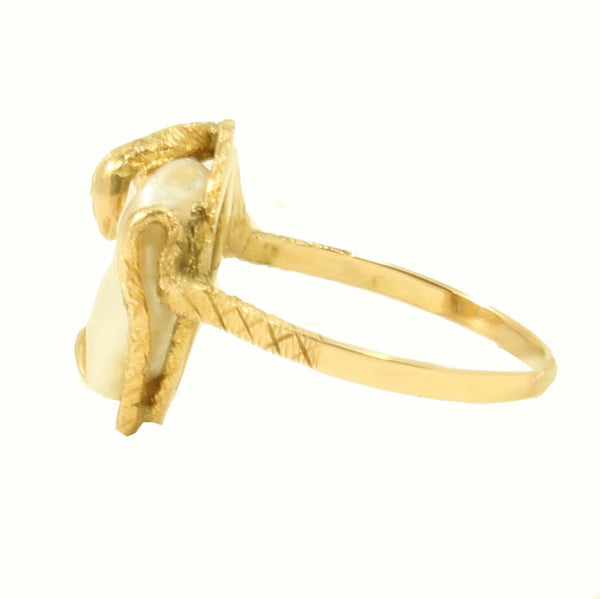 Snake/Serpent 14k Yellow Gold and Pearl Ring Side
