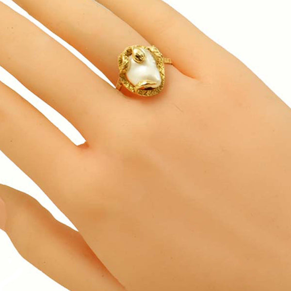 Snake/Serpent 14k Yellow Gold and Pearl Ring Worn