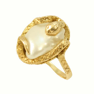 Snake/Serpent 14k Yellow Gold and Pearl Ring Front