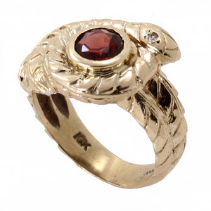 Garnet 10k Yellow Gold Serpent Snake Ring Front