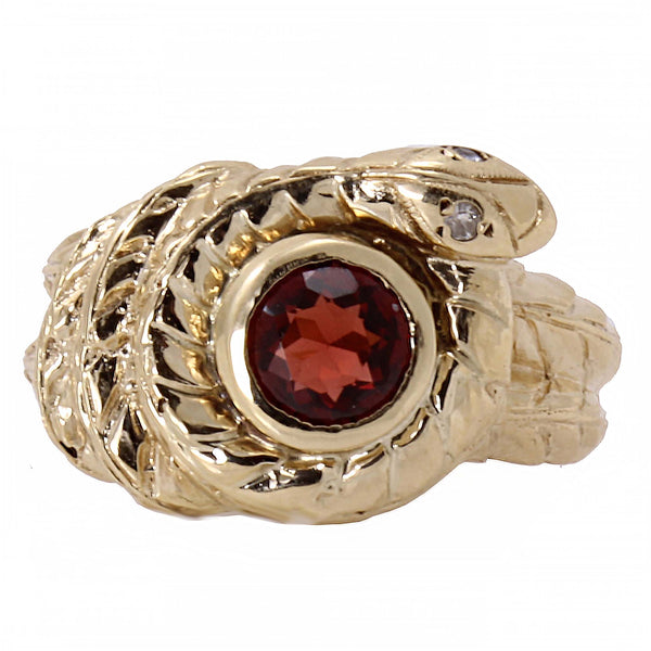 Garnet 10k Yellow Gold Serpent Snake Ring Full