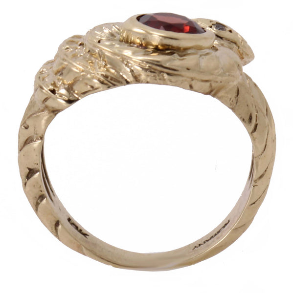 Garnet 10k Yellow Gold Serpent Snake Ring Side