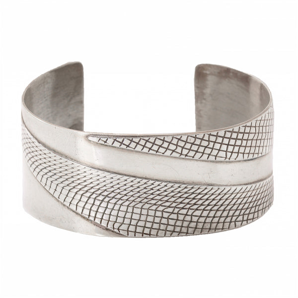 Sterling Silver Patterned Cuff Bracelet Full