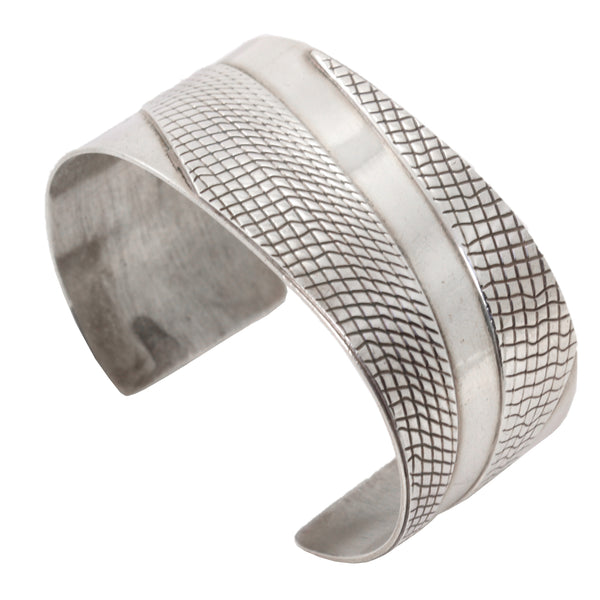Sterling Silver Patterned Cuff Bracelet Front