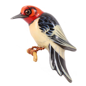 Takahashi Red Headed Woodpecker Pin Front
