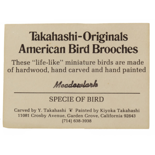Takahashi Meadowlark Bird Pin Card