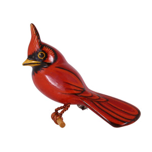 Takahashi Male Cardinal Wood Bird Pin Front