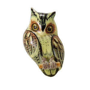 Takahashi Vintage Unique Color Pale Green Owl Pin Front