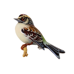 Takahashi Chipping Sparrow Vintage Pin Front