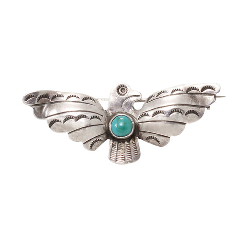Navajo Sterling and Turquoise Thunderbird Pin Front