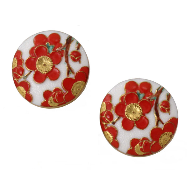 Vintage Toshikane Cherry Blossom Porcelain Earrings Front