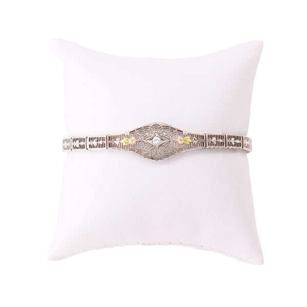 Tri-Gold 10k Diamond Filigree Bracelet Front