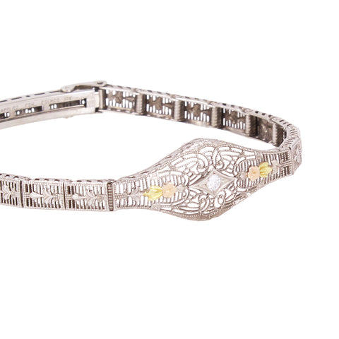 Tri-Gold 10k Diamond Filigree Bracelet