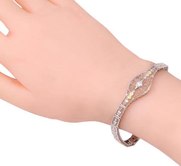 Tri-Gold 10k Diamond Filigree Bracelet Worn