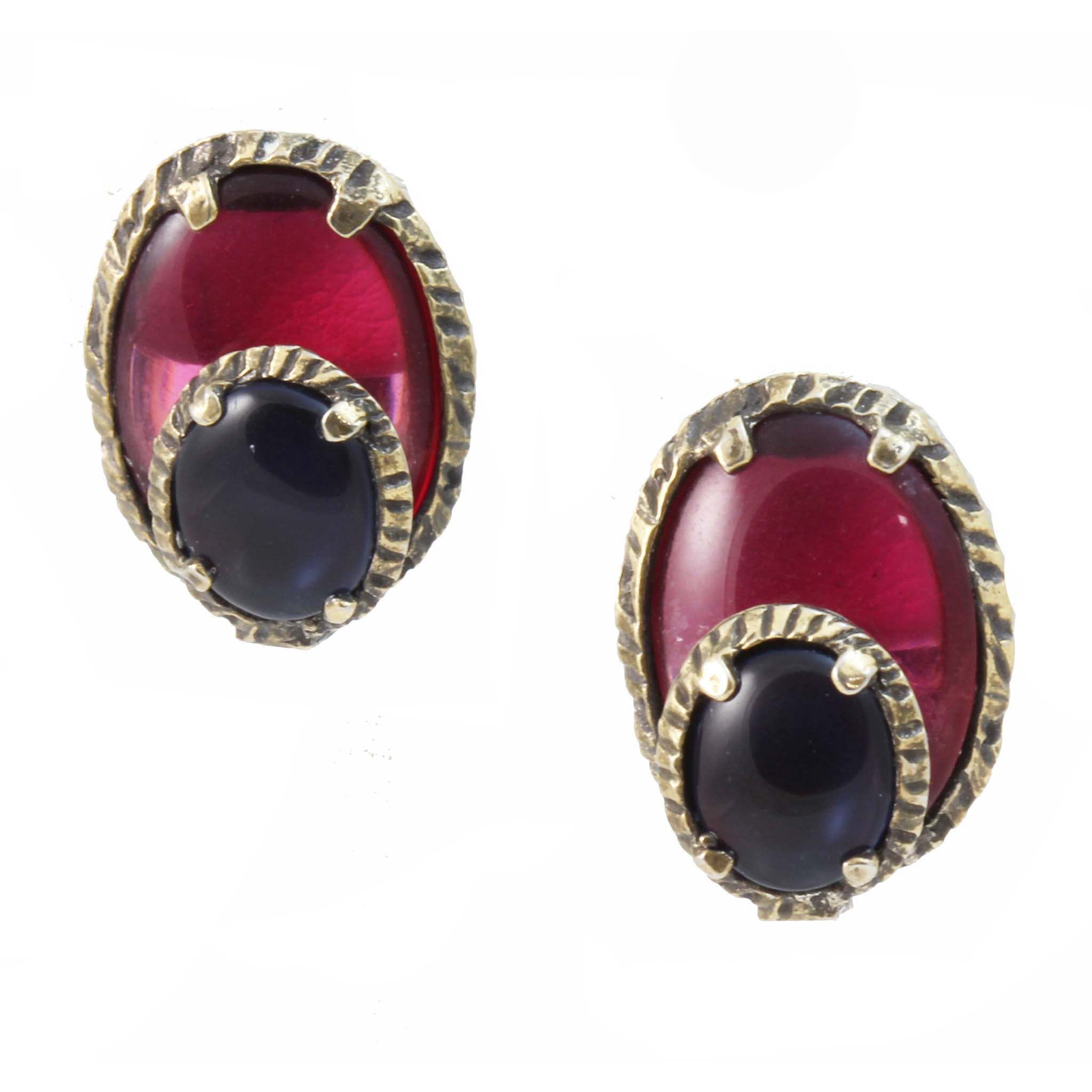 Trifari Renaissance Collection Jewel Tones Earrings Front