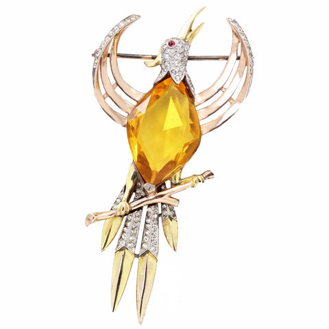 Trifari Rare Sterling Vermeil Topaz Glass Phoenix Bird Figural Brooch Pin Front
