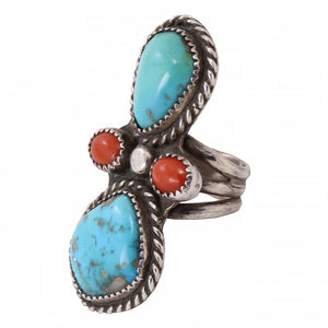 Navajo Turquoise and Coral Sterling Silver Ring Side
