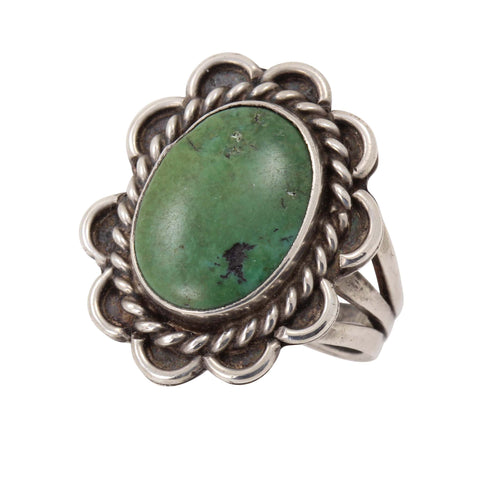 Early Navajo Cerrillos Green Turquoise Sterling Ring Front