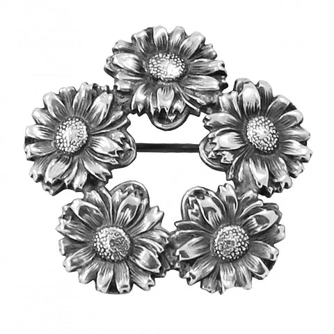 Art Nouveau Unger Brothers Sterling Daisy Wreath Pin Front