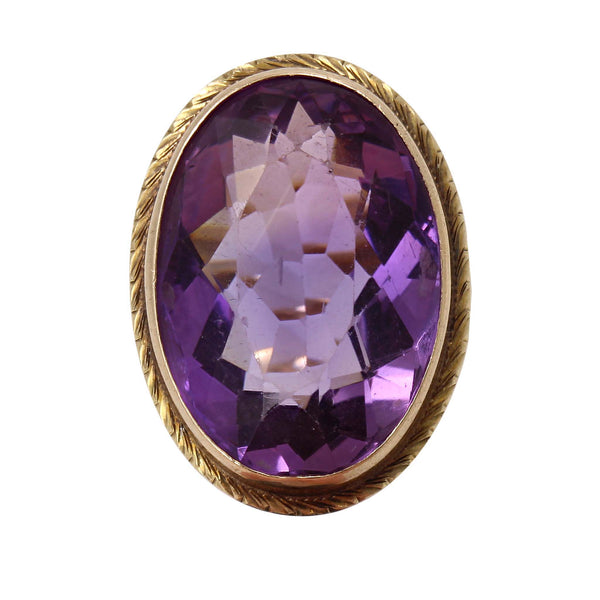 Victorian Amethyst 10k Yellow Gold Ring Front