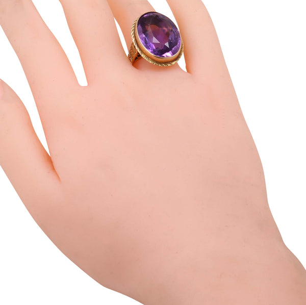 Victorian Amethyst 10k Yellow Gold Ring Worn
