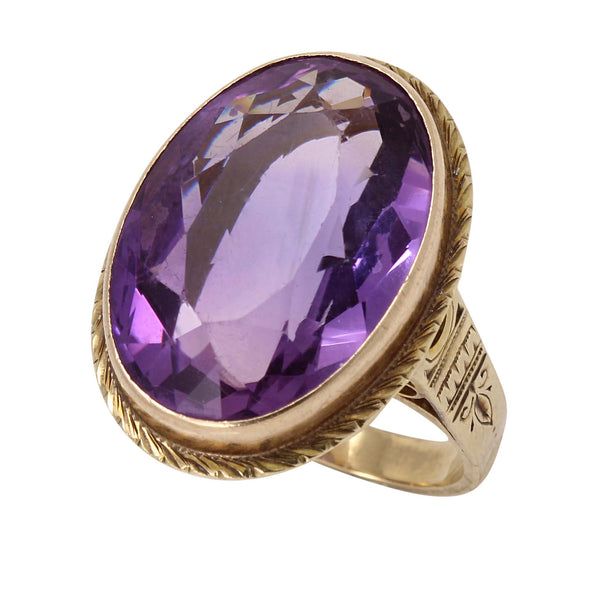 Victorian Amethyst 10k Yellow Gold Ring Side