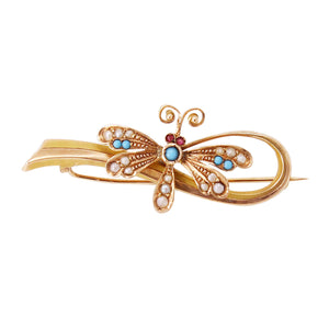 Victorian 14k Yellow Gold Turquoise and Pearl Butterfly Pin