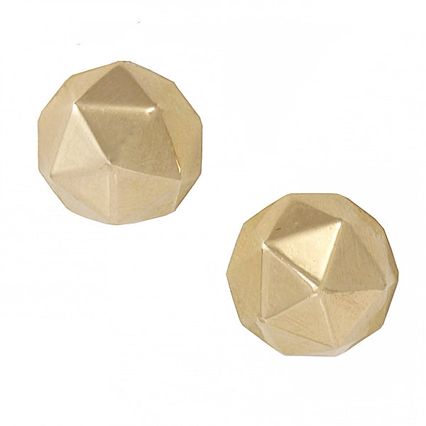 Geometric Classic Style 14k Yellow Gold Earrings Front