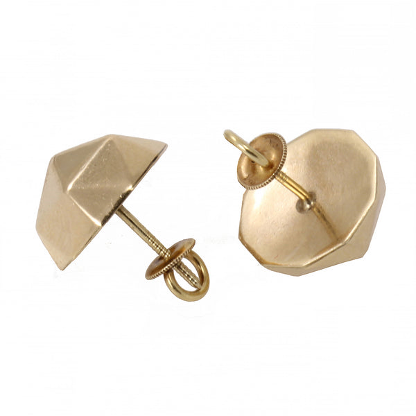 Geometric Classic Style 14k Yellow Gold Earrings Back
