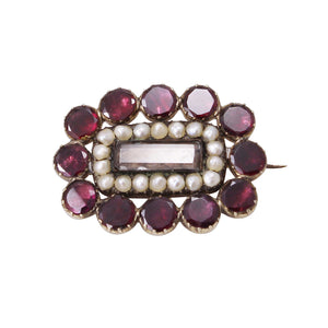 Georgian 14k Yellow Gold, Garnet and Pearl Hair Mourning Pin Front