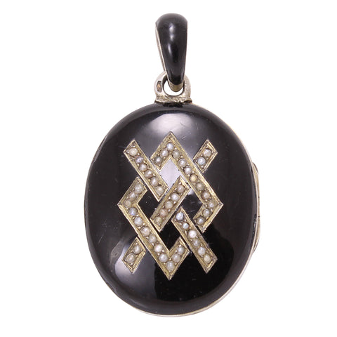 French Silver Black Enamel and Pearl Locket Front