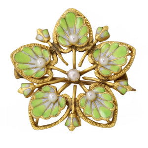 Victorian Enamel 14k Gold Pin Front