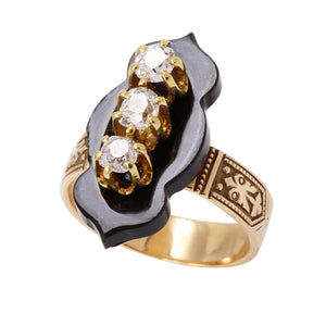 Victorian 14k Rose and Yellow Gold Diamond and Onyx Ring