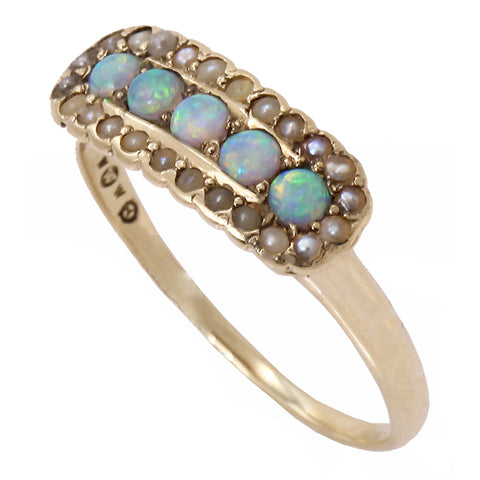 Victorian 14k Yellow Gold Opal and Pearl Antique Ring Side