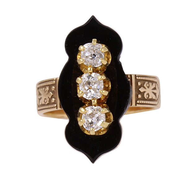 Victorian 14k Rose and Yellow Gold Diamond and Onyx Ring Front